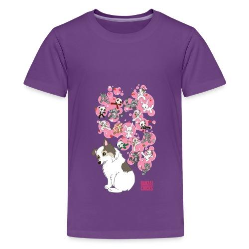 Freckles the Australian Shepherd and Kawaii Animal - Kids' Premium T-Shirt