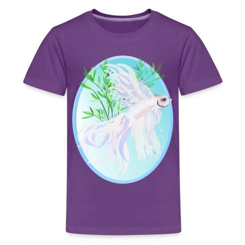 White Siamese Fighting Fish Oval - Kids' Premium T-Shirt