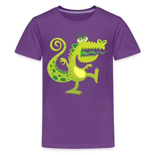 Scary reptile like monster growling in angry mood - Kids' Premium T-Shirt