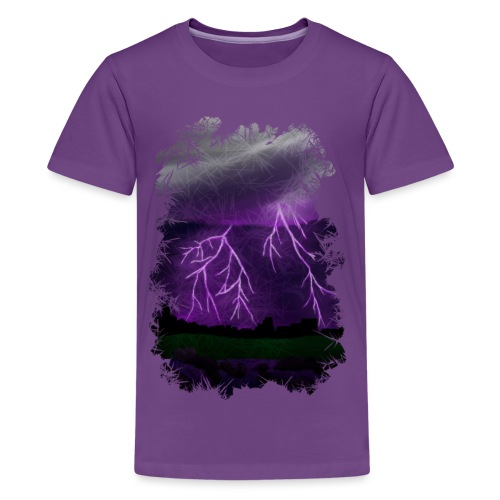 Purple Lightning Scene - Kids' Premium T-Shirt
