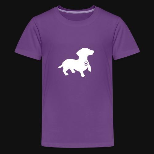 Dachshund silhouette white - Kids' Premium T-Shirt