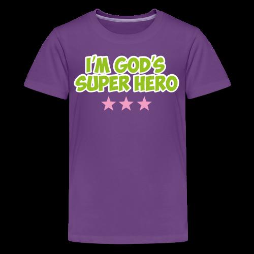 God's Super Hero - pink stars - Kids' Premium T-Shirt