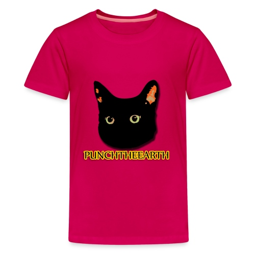PunchTheEarth Cat with Text - Kids' Premium T-Shirt