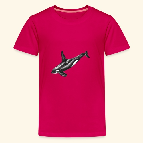 Orca killer whale ink drawing artwork - Kids' Premium T-Shirt
