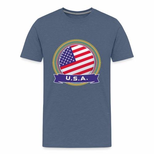 U.S.A. Happy Holi Color Framed U.S.A. Flag Banner - Kids' Premium T-Shirt