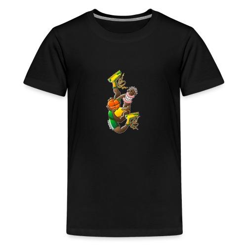 Acrobatic basketball player performing a high jump - Kids' Premium T-Shirt