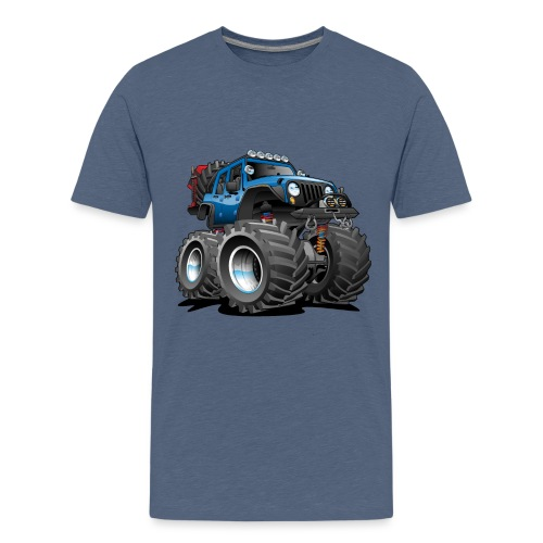Off road 4x4 blue jeeper cartoon - Kids' Premium T-Shirt