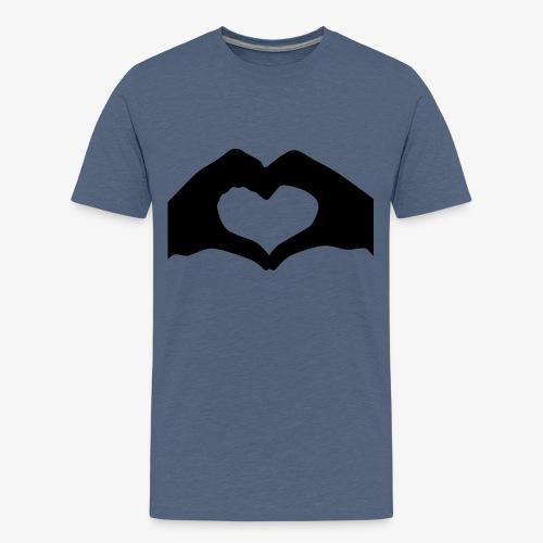 Silhouette Heart Hands | Mousepad - Kids' Premium T-Shirt