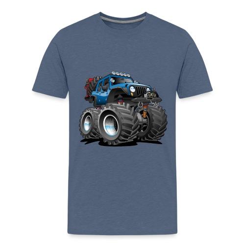Off road 4x4 blue jeeper cartoon - Kids' Premium T-Shirt