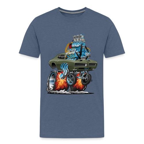 Classic American Muscle Car Hot Rod Cartoon - Kids' Premium T-Shirt