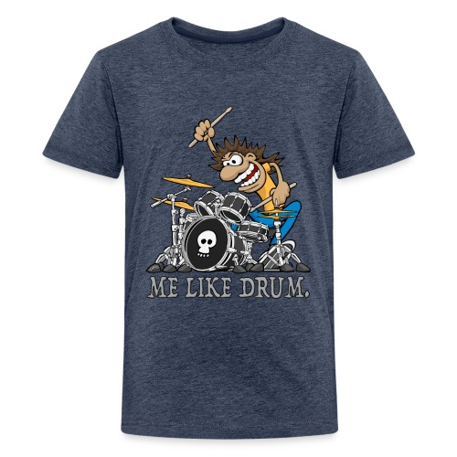Me Like Drum. Wild Drummer Cartoon Illustration - Kids' Premium T-Shirt