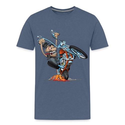 Funny biker riding a chopper cartoon - Kids' Premium T-Shirt