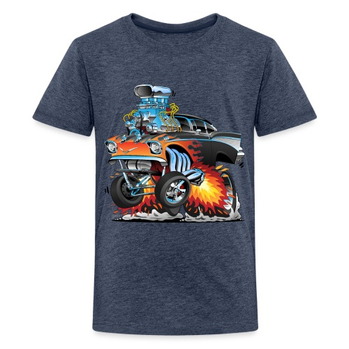 Classic hot rod 57 gasser dragster car cartoon - Kids' Premium T-Shirt