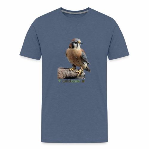 WildCare's non-releasable ambassador Kestrel Kele - Kids' Premium T-Shirt