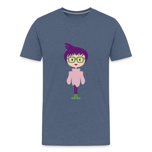Funky Girl, Purple Hair + Big Eyeglasses w/ Boots - Kids' Premium T-Shirt