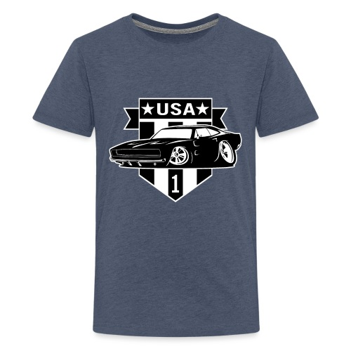 Classic Car with USA 1 Shield - Kids' Premium T-Shirt