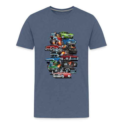 Car Madness! Muscle Cars and Hot Rods Cartoon - Kids' Premium T-Shirt