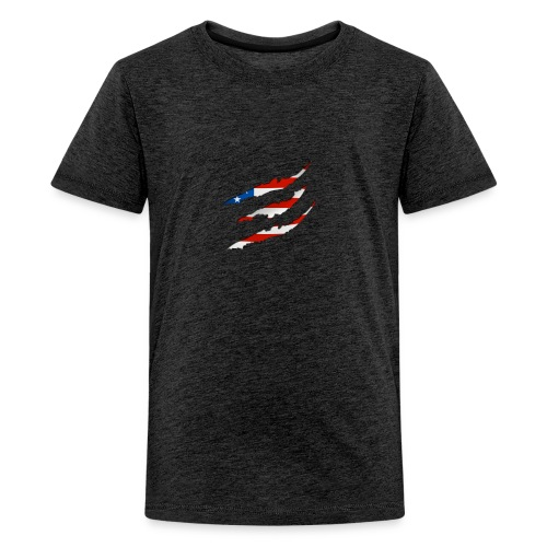 3D American Flag Claw Marks T-shirt for Men - Kids' Premium T-Shirt