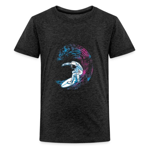 Surfing Astronaut Moon Wave Surf Funny - Kids' Premium T-Shirt