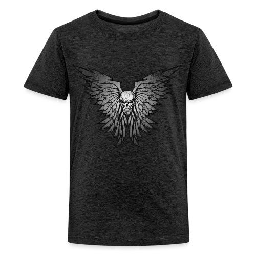 Classic Distressed Skull Wings Illustration - Kids' Premium T-Shirt