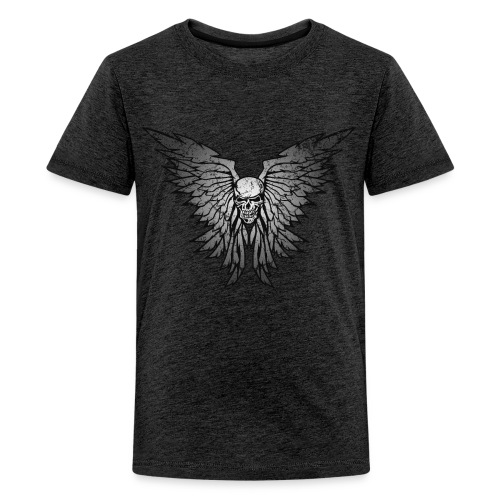 Classic Distressed Skull Wings Illustration - Kids' Premium T-Shirt