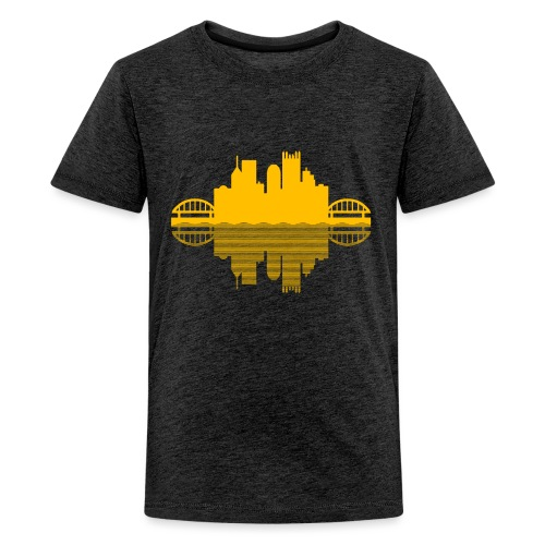 Pittsburgh Skyline Reflection (Gold) - Kids' Premium T-Shirt
