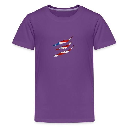3D American Flag Claw Marks T-shirt for Men - Kids' Premium T-Shirt