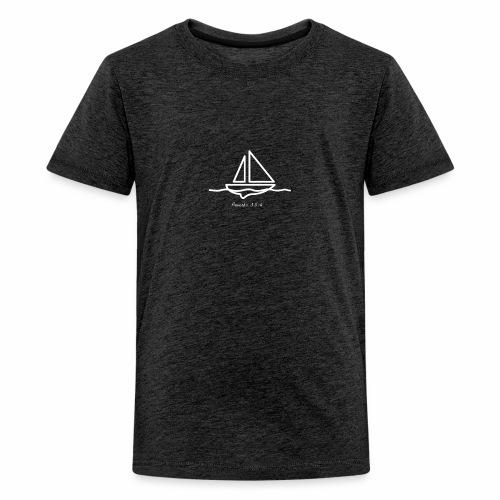 Sailboat logo, Proverbs 3:5-6 white 1 - Kids' Premium T-Shirt