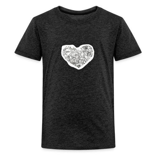 Summer Heart Doodle Art Design - Kids' Premium T-Shirt