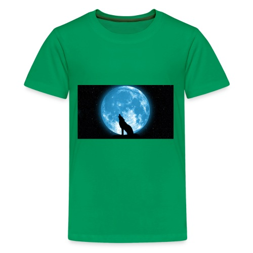 488234 wolf howling at the moon wallpaper 2560x144 - Kids' Premium T-Shirt