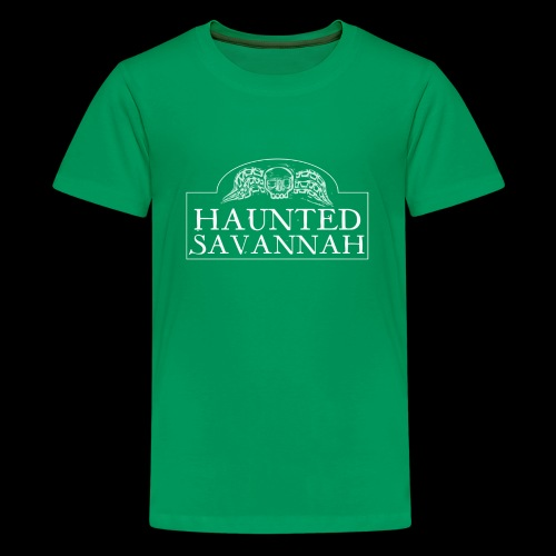 Haunted Savannah Tours Logo (White and Transparent - Kids' Premium T-Shirt