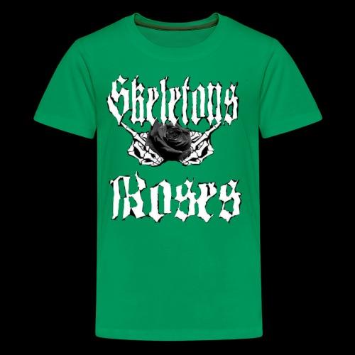 Skull Middle Finger Roses Design - Kids' Premium T-Shirt