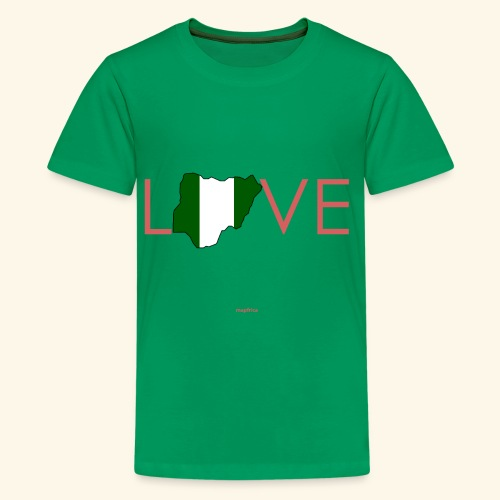 Love Nigeria Flag Map in Pink - Kids' Premium T-Shirt