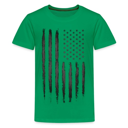 Black Grunge USA Flag - Kids' Premium T-Shirt