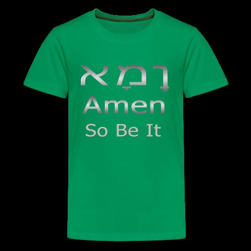 Cool Christian Amen So Be It Hebrew Letters - Kids' Premium T-Shirt