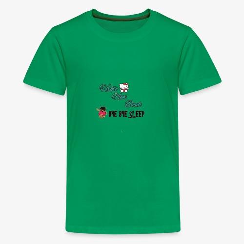 Hello New Book, Bye Bye Sleep - Kids' Premium T-Shirt