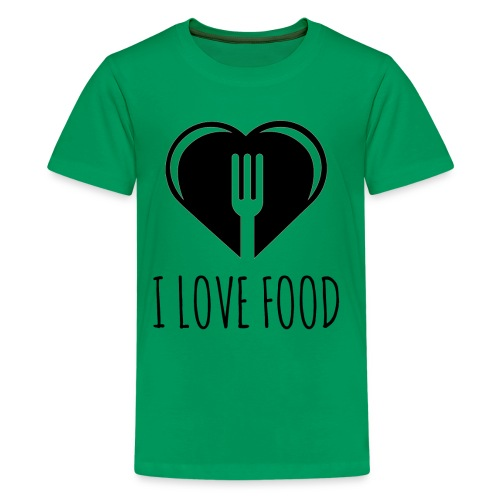 Funny Food Quote I Love To Eat - Heart, Fork Diet - Kids' Premium T-Shirt