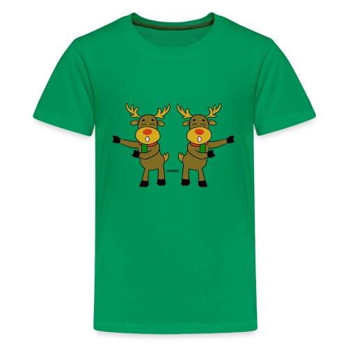 reindeer floss backback dance - Kids' Premium T-Shirt