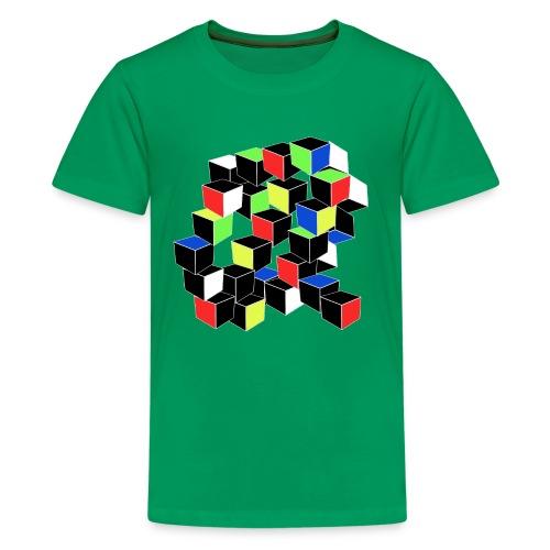 Optical Illusion Shirt - Cubes in 6 colors- Cubist - Kids' Premium T-Shirt