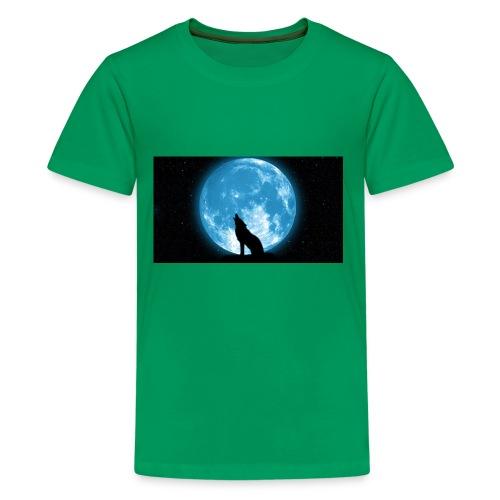 488234 wolf howling at the moon wallpaper 2560x144 - Kids' Premium T-Shirt