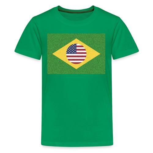 Brazil and USA Flag - Kids' Premium T-Shirt