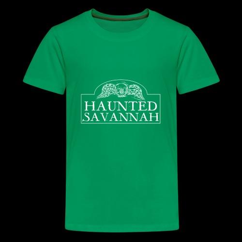 Haunted Savannah Tours Logo (White and Transparent - Kids' Premium T-Shirt