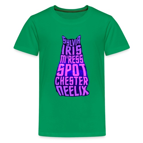 Trek Cats (pink and purple letters) - Kids' Premium T-Shirt