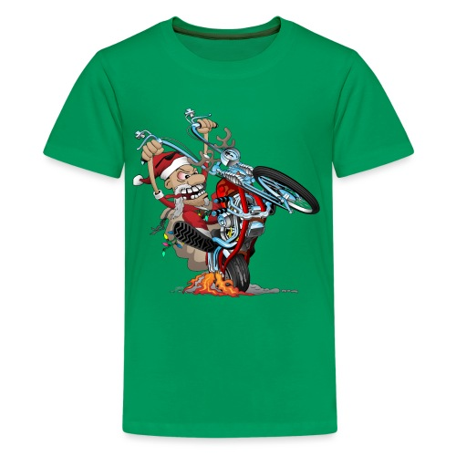 Biker Santa on a chopper cartoon illustration - Kids' Premium T-Shirt