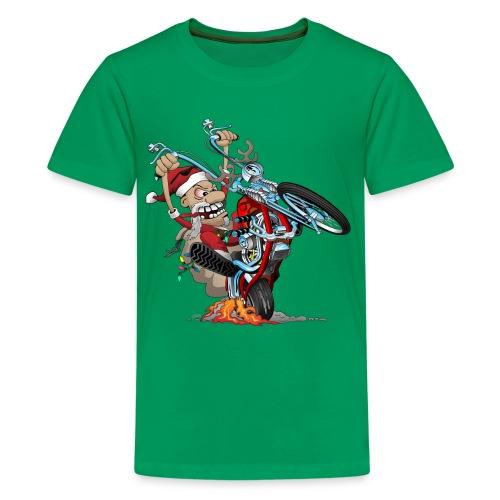 Biker Santa on a chopper cartoon illustration - Kids' Premium T-Shirt