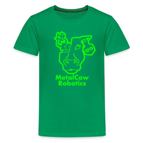 MetalCowLogo GreenOutline - Kids' Premium T-Shirt