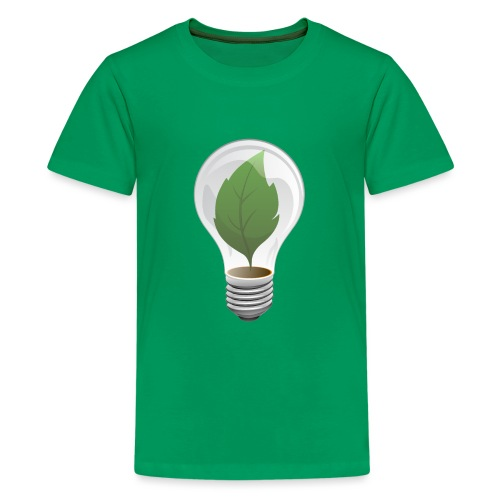 Clean Energy Green Leaf Illustration - Kids' Premium T-Shirt