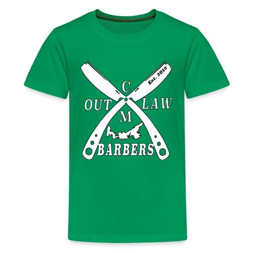Outlaw Barbers Logo White - Kids' Premium T-Shirt