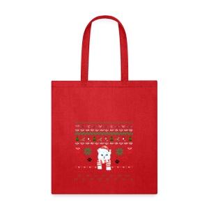 Scandinavian White Christmas Cat - Tote Bag
