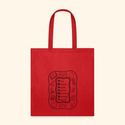 Teacher Attributes Acrostic - Tote Bag